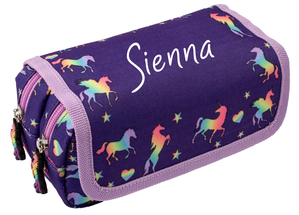 Personalised Pencil Case -Purple Unicorns