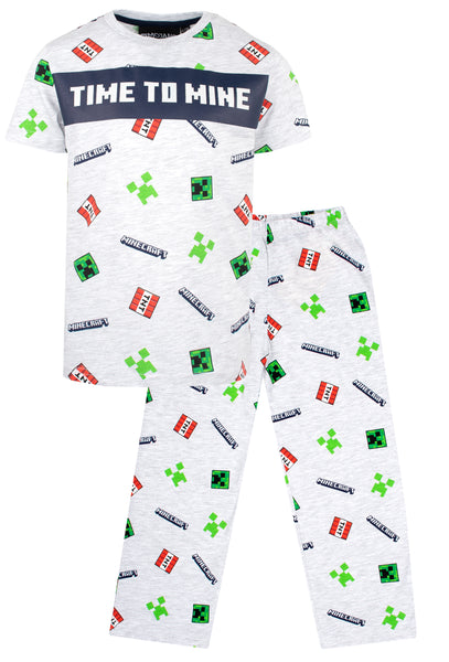 Minecraft Pyjama Short Sleeve - 'Time to Mine' Grey