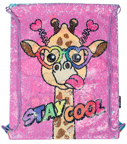 Sequin Drawstring Backpack - Cool Giraffe