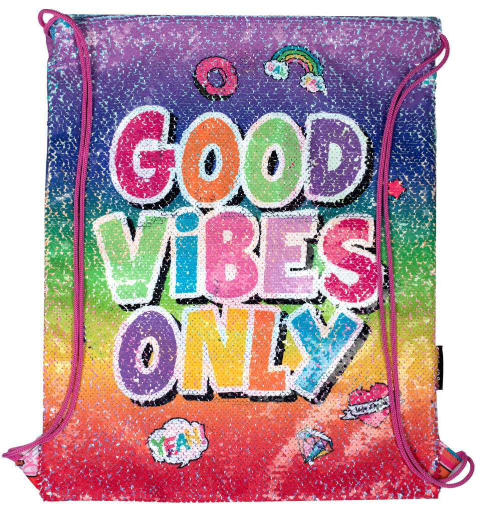Sequin Drawstring Backpack - Good Vibes