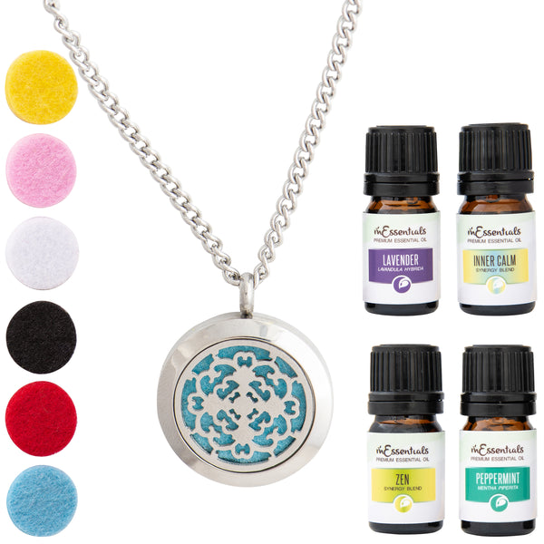 Cross 316L Surgical Stainless Steel Aromatherapy Diffuser Necklace Gift Set (Includes Lavender, Peppermint, Zen, Inner Calm- 5 ml Bottles)