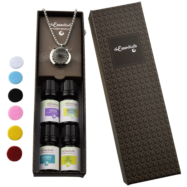 Sun  316L Surgical Stainless Steel Aromatherapy Diffuser Necklace Gift Set (Includes Lavender, Peppermint, Zen, Inner Calm - 5 ml Bottles)
