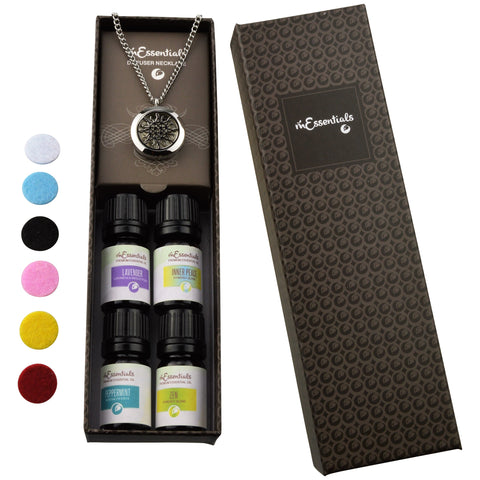 Love Knot 316L Surgical Stainless Steel Aromatherapy Diffuser Necklace Gift Set (Includes Lavender, Peppermint, Zen, Inner Calm - 5 ml Bottles)