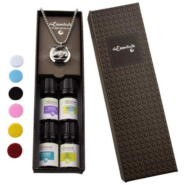 Lotus Open  316L Surgical Stainless Steel Aromatherapy Diffuser Necklace Gift Set (IncludesLavender, Peppermint, Zen, Inner Calm- 5 ml Bottles)