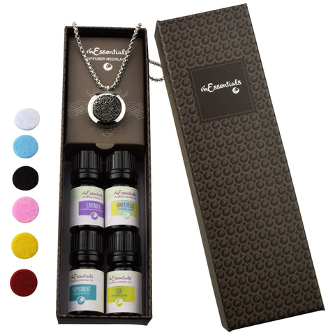 Wrought Iron 316L Surgical Stainless Steel Aromatherapy Diffuser Necklace Gift Set (Includes Lavender, Peppermint, Zen, Inner Calm - 5 ml Bottles)