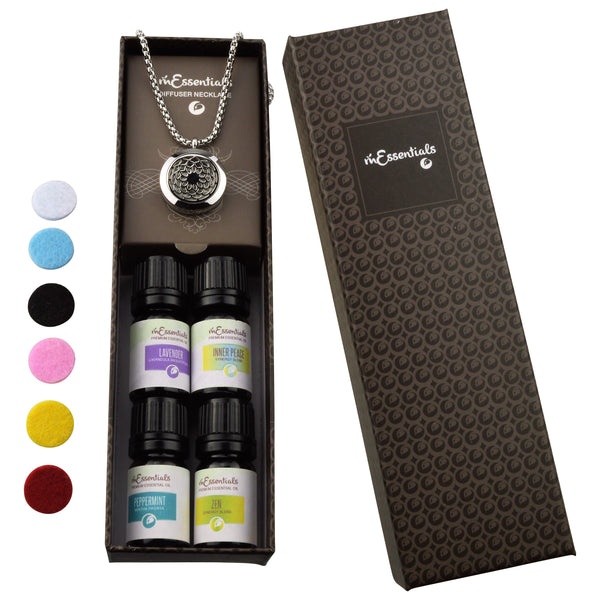 Sunflower  316L Surgical Stainless Steel Aromatherapy Diffuser Necklace Gift Set (Includes Lavender, Peppermint, Zen, Inner Calm 5 ml Bottles)
