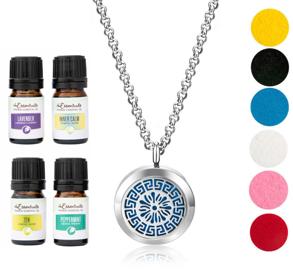Greek 316L Surgical Stainless Steel Aromatherapy Diffuser Necklace Gift Set (Includes Lavender, Peppermint, Zen, Inner Calm- 5 ml Bottles)