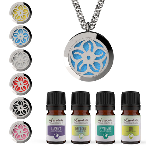 Lotus  316L Surgical Stainless Steel Aromatherapy Diffuser Necklace Gift Set (Includes Lavender, Peppermint, Zen, Inner Calm- 5 ml Bottles)