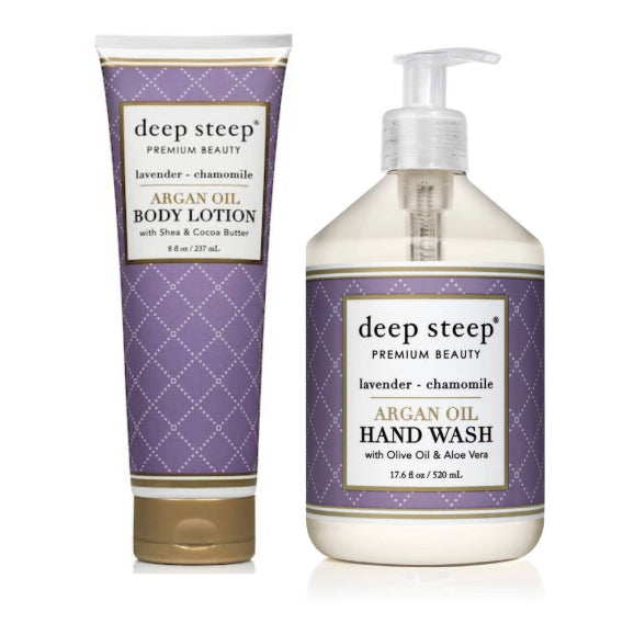 Deep Steep - Lavender Chamomile Argan Oil Body Lotion & Liquid Hand Soap Set