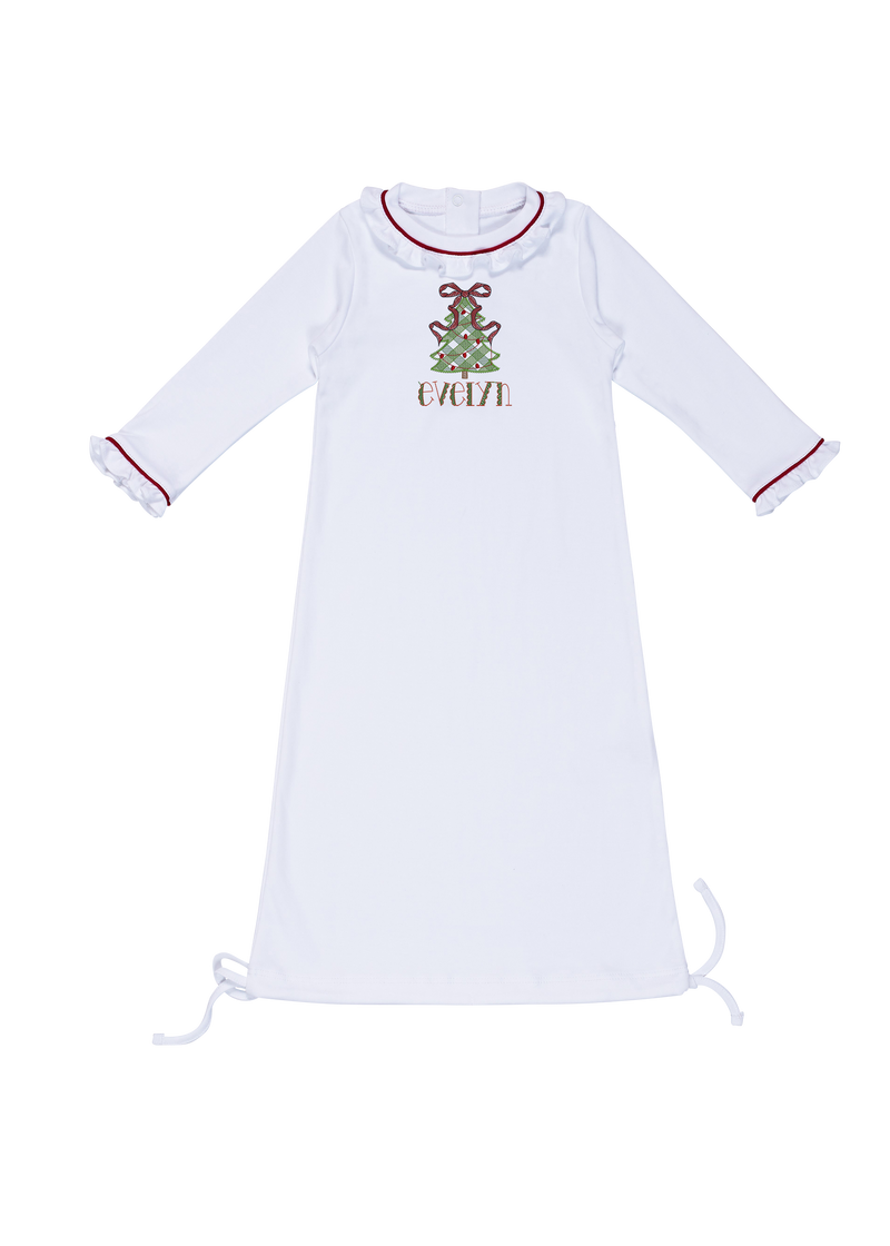 Georgia Ruffled Daygown with Monogram - White with Red Piping