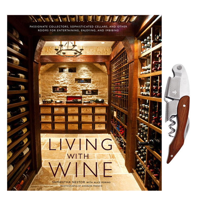 Living with Wine Book and Sommelier Corkscrew Set