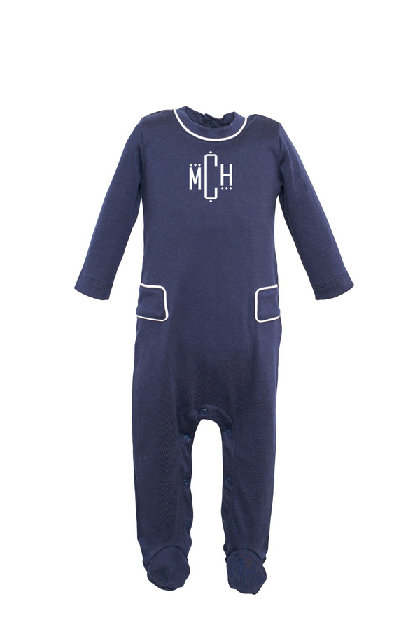 Preston Footed Romper with Monogram - Navy with White Piping