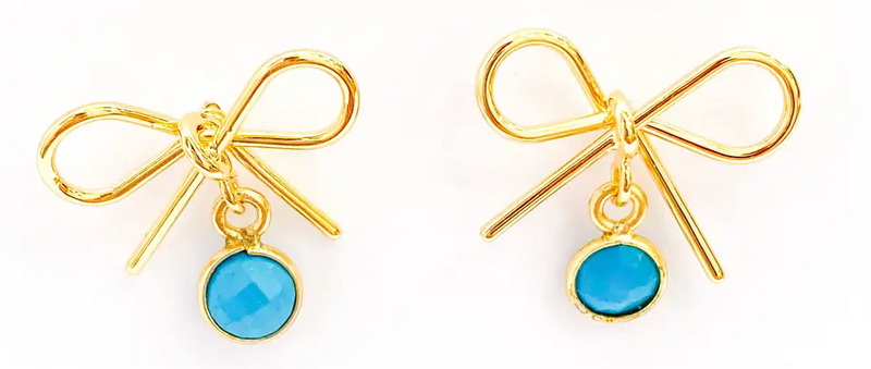 Little Bow Earrings Turquoise by M Donohue Collection