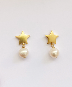 Gold Star Earrings with Pearl Drop by M Donohue Collection