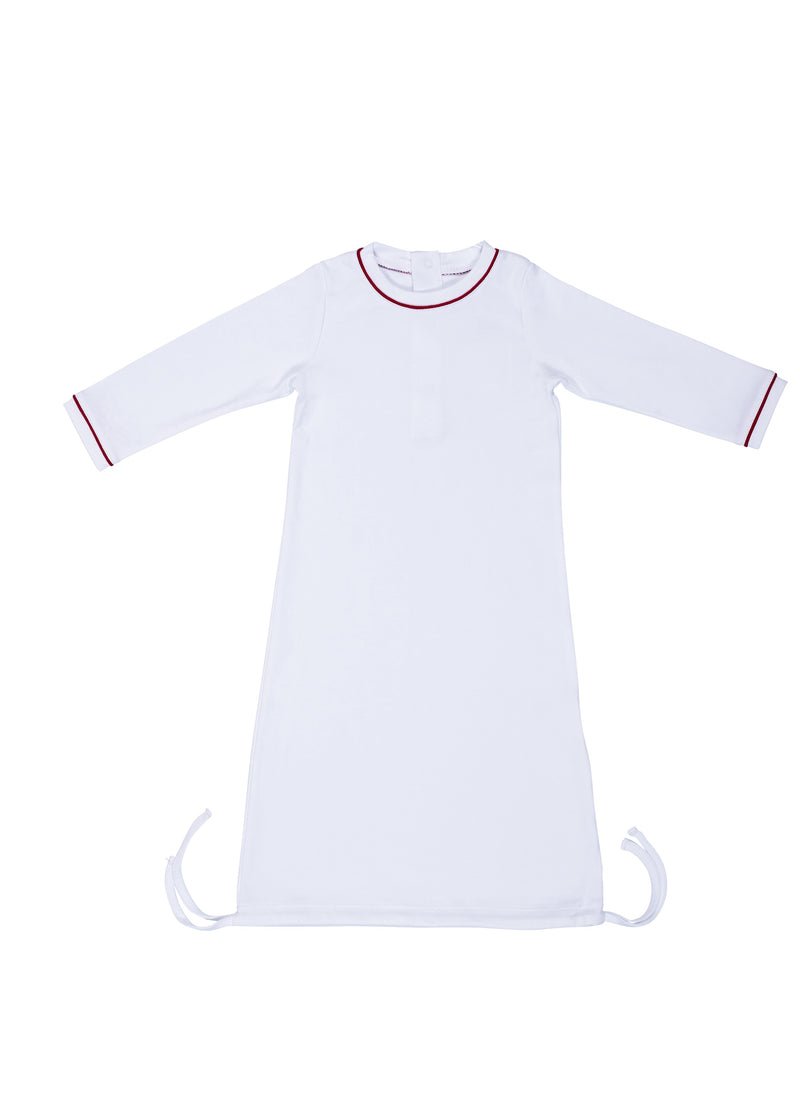 George Daygown with Monogram - White with Red Piping