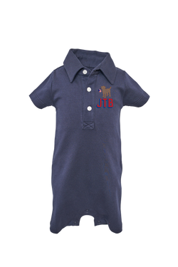 Tripp Navy Polo Shortall with Monogram
