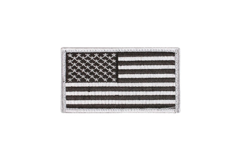 ROTHCO US FLAG PATCH WITH VELCRO HOOK BACK - SILVER