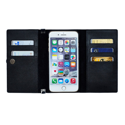 FOLDY #5  Cow-Leather | Black | Black - for iPhone 8, 7, 6