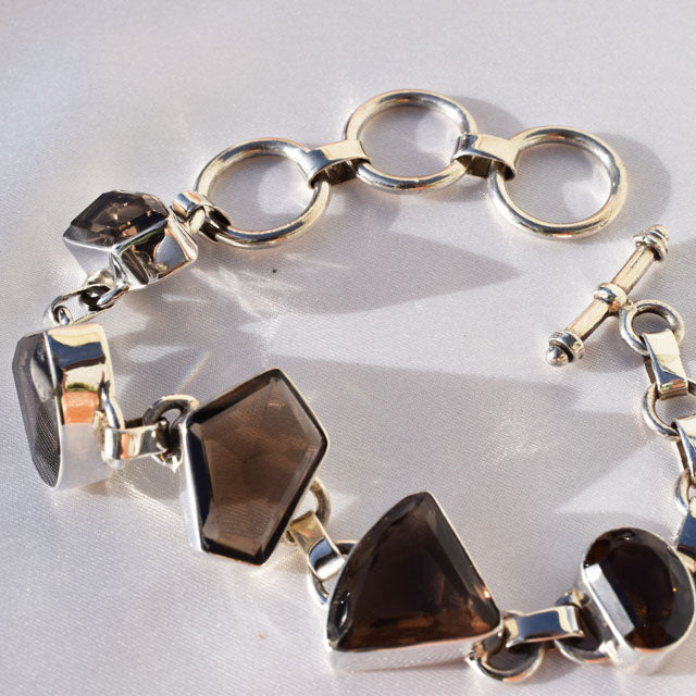 Smokey Quarts faceted stone bracelet