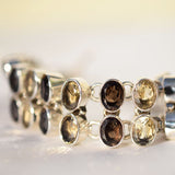 Smokey Citrine and Smokey Quarts faceted link bracelet