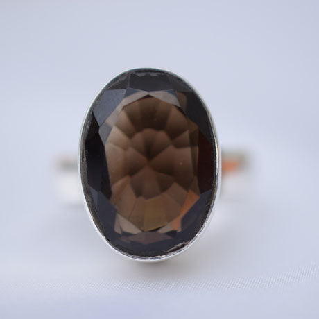 Smokey Quarts faceted ring