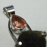 Moldavite and Sunstone pendant
