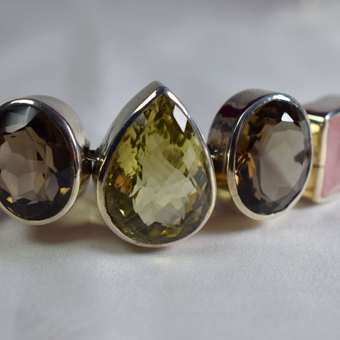 Large chequer cut faceted Citrine, Smokey Quarts and Rose Quarts bracelet.