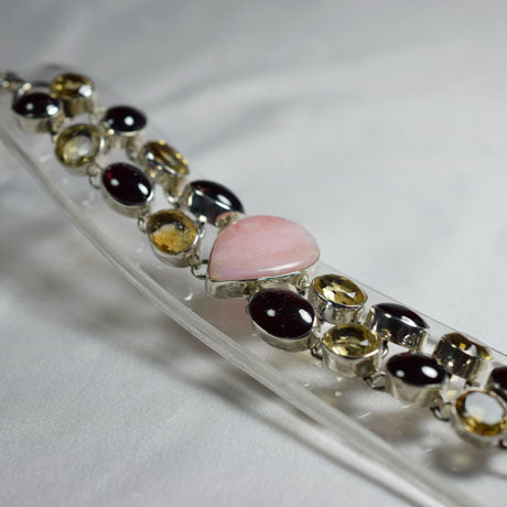 Pink Opal, Garnet and Citrine combination bracelet.