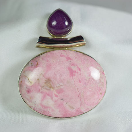 Pink Opal and Ruby pendant