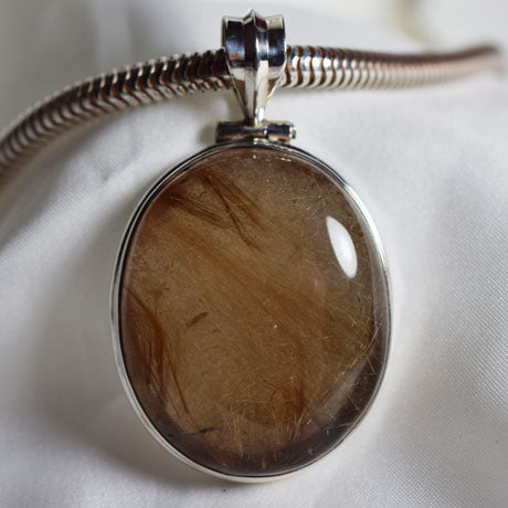 Golden Rutile Quarts large cabuchon pendant