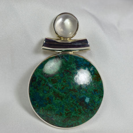 Malachite Chrysocolla and Sri Lankan Moonstone pendant