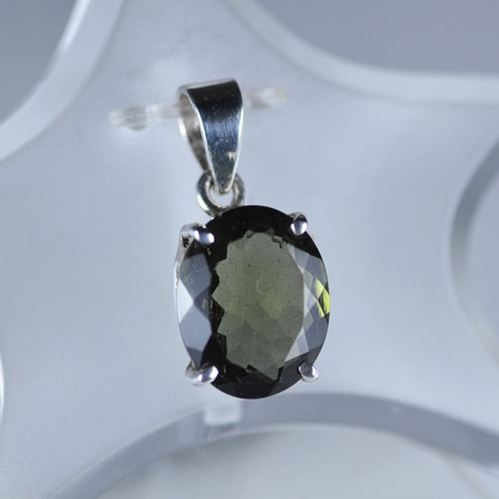 Oval faceted Moldavite claw set pendant