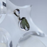 Faceted Moldavite crown set pendant
