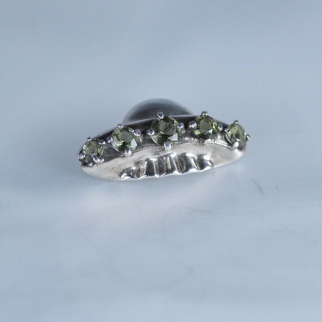 Spaceship faceted Moldavite pendant