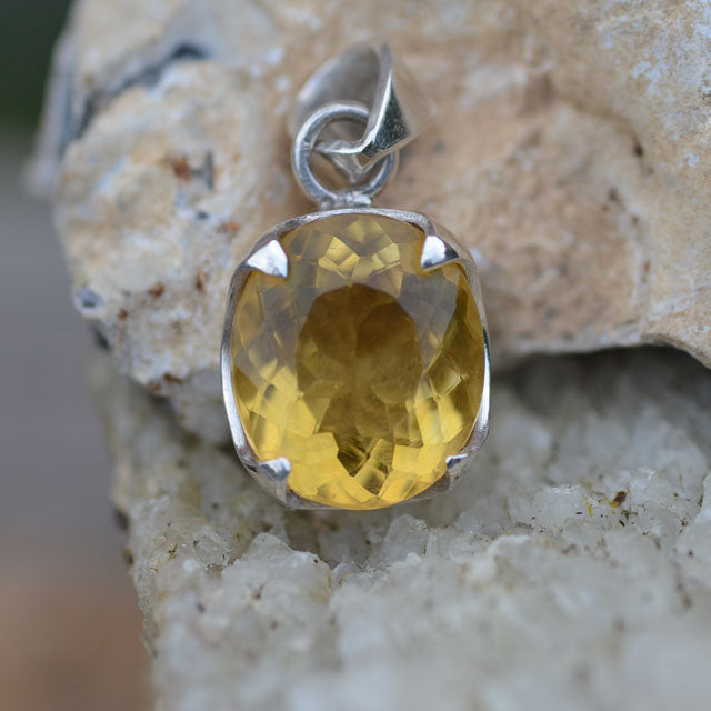 Citrine large faceted stone pendant