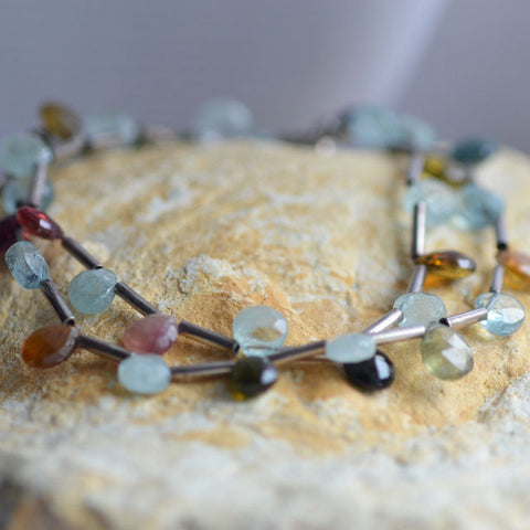 Aquamarine and Tourmaline droplet faceted bead necklace