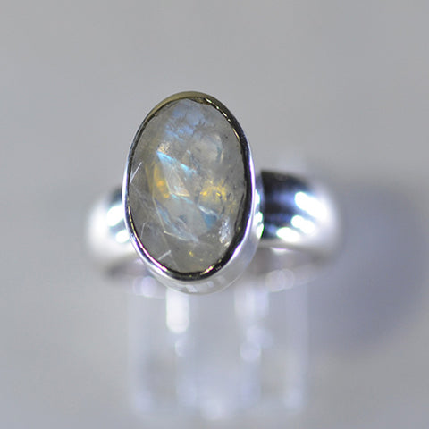Rainbow moonstone wide band ring - size 'N/O'