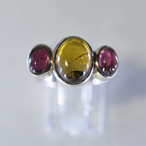 Three stone Tourmaline ring - size 'M.5/N'