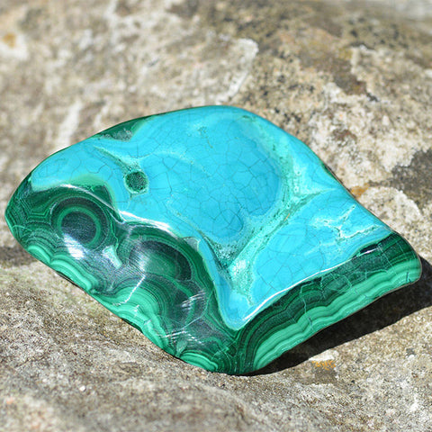 Malachite and Chrysocolla polished crystal
