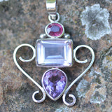 Ruby & Amethyst three stone pendant