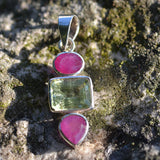 Ruby and green Amethyst pendant