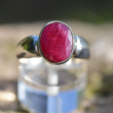 Ruby oval facted ring