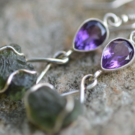 Moldavite and Amethyst dangle earrings