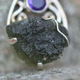 Natural Moldavite and faceted Amethyst pendant