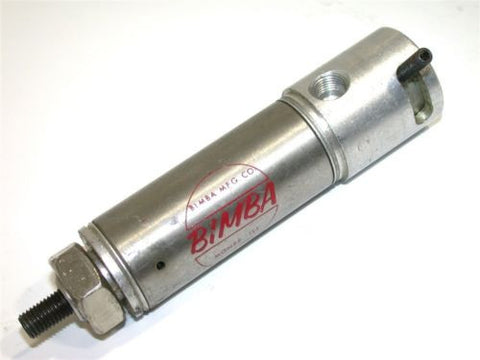 "BIMBA SPRING RETURN 1"" STAINLESS AIR CYLINDER W/ BUILT IN MANUAL VALVE 091-M"