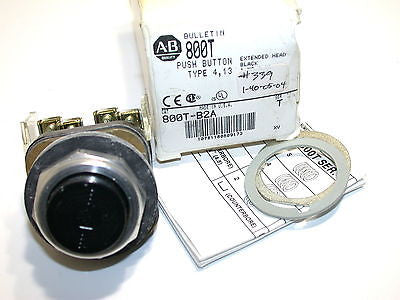NEW ALLEN BRADLEY BLACK EXTENDED  HEAD PUSHBUTTON 800T-B2A