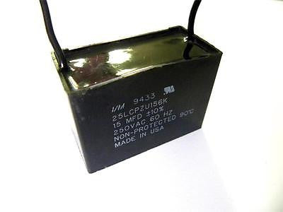 CAPACITOR 250VAC 60HZ 15MFD MODEL 25LCPZU156K (5 AVAILABLE)