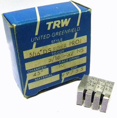 "BRAND NEW SET OF TRW THREAD CHASERS 5/16"" DS SUPER PROJ TO CUT 5/16""-32 NS"