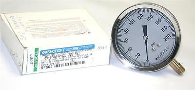 "BRAND NEW IN BOX ASHCROFT PRESSURE GAUGE 0-200 PSI 1/4"" NPT 35-1009AW-02L"