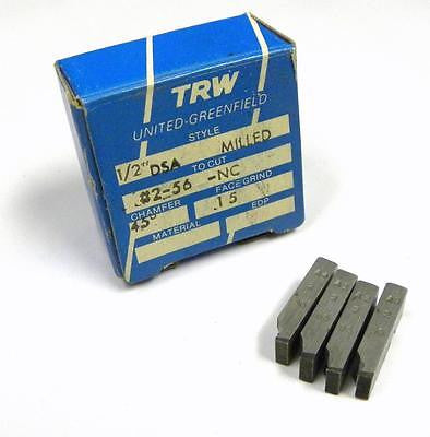 "BRAND NEW SET OF TRW THREAD CHASERS 1/2"" DSA MILLED TO CUT #2-56 -NC"